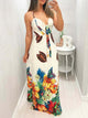 Butterfly & Floral Print Tied Front Maxi Dress