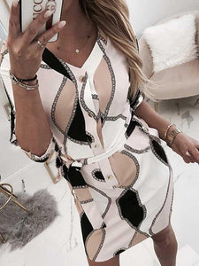 Chain Print Tied Waist Casual Shirt Dress