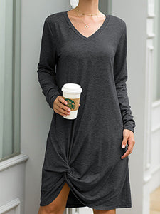 V Neck Solid Long Sleeves Casual Midi Dress