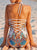 Bohemia Sexy Halter Print Lace Up Back Swimsuit - Hellosasa