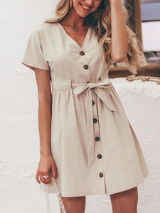 Solid Color Simplee Vintage V Neck Short Sleeve Belt Button Casual A Line Dress