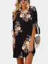 Round Neck Short Sleeve Floral Print Sleeve Strappy Casual Loose Mini Dress
