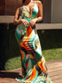 Sleeveless V Neck Tie Dye Printed Floor Length Dress