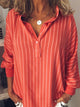 Plus Size Stripe Long Sleeve Casual Blouse