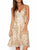 Khaki V-neck Embroidery Scalloped Hem Lace Strap Dress