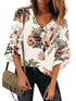 V Neck Bat sleeve Floral Mesh Casual Blouse