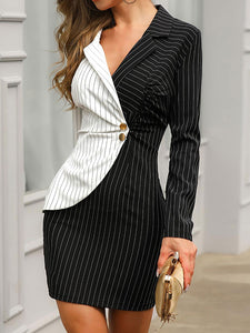Contrast Color Striped Insert  Long Sleeve Blazer Dress