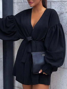 V Neck Solid Sexy Long Sleeves Dress