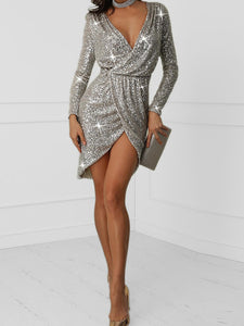 V Neck Long Sleeve Sequin Sexy Party Dress