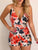 Spaghetti Straps Sleeveless Floral Print Belt Casual Romper
