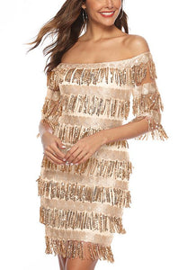 One-neck Collar Tassel Hip Sexy Sequin Party Dress