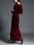V Neck Long Sleeve Side Split Solid Color Draped Casual Velvet Maxi Dress