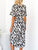 V Neck Short Sleeve Asymmetrical Hem Leopard Print Belt Casual Midi Dress