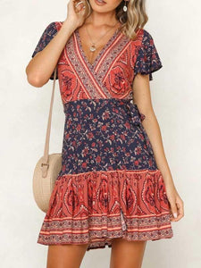 V Neck Fabric Pretty Girl Dress