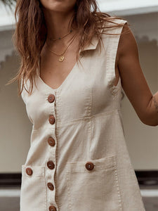 Plus Size V Neck Solid Sleeves Pockets Casual Linen Dress