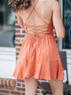 Halter-Solid-Uncover-Back-Ruffle-Dress