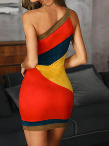 One Shoulder Colorblock Insert Bodycon Dress