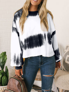 Round Neck Long Sleeve Gradient Casual Blouse