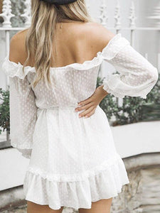White Polka Dot Ruffles Trim Off Shoulder Sexy Dress