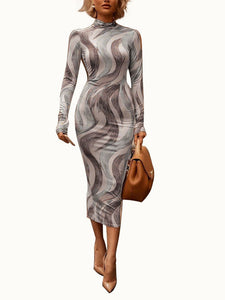 Round Neck Long Sleeve 3D Print Casual Bodycon Dress