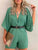 Solid Color Deep V Neck 3/4 Sleeve Loose Casual Romper