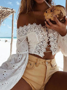 Off Shoulder Long Sleeve Lace Loose Blouse