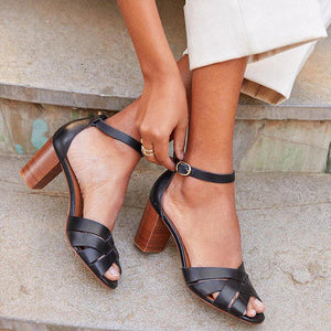 Chunky Heel Open Toe Casual Sandals
