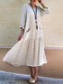 Round Neck Striped Splice Mid-Length Dress