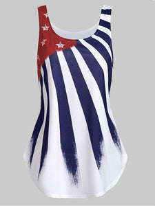 Flare American Flag Print Tank Top