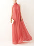 Solid Color Elegant Round Neck Cold Shoulder Pleated Casual Maxi Dress