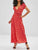 V Neck Polka Dot Belt Casual Split Maxi Dress
