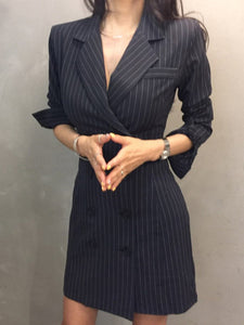 Turndown Collar Office Lady Long Sleeve Dress