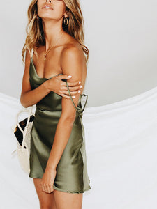 Solid Color Spaghetti Straps Backless Casual Mini Dress