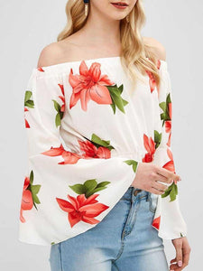 Sexy Off Shoulder Flare Sleeve Leaky Waist Floral Blouse