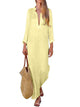 Deep V Neck Long Sleeve Asymmetrical Hem Solid Color Casual Loose Maxi Dress