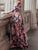 Bohemia Elegant Round Neck 3/4 Sleeve Floral Print Draped Casual A Line Maxi Dress - Hellosasa