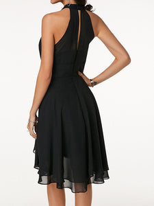 Layered Cutout Back Sleeveless Black Chiffon Dress