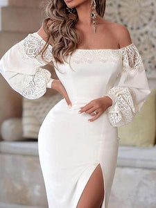 Off Shoulder Lantern Sleeve Lace Insert Slit Dress