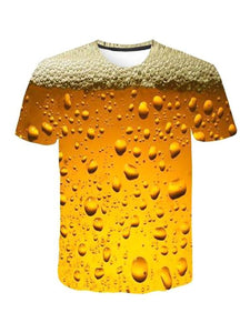 Round Neck Short Sleeve 3D Print Beer Bubble Loose T-Shirt