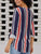 Multicolor V Neck Long Sleeve Stripe Loose Blouse