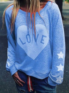 Round Neck love Print Long Sleeve Casual T-Shirt