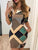 Round Neck Half Sleeve Fashion Geometric Chain Print Elegant Bodycon Dress