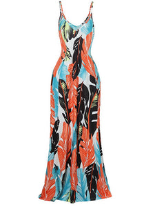 Sexy Off Shoulder Leaf Print Side Pocket Casual Maxi Dress