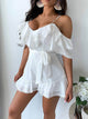 Solid Color Sexy Off Shoulder Ruffles Pom Pom Belt Romper