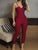 Sexy Solid Color Off Shoulder Spaghetti Strap Bodycon Jumpsuit