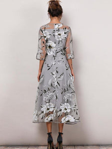 Floral-3/4-Sleeves-Midi-X-line-Dress-Findalls