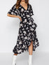 V Neck Short Sleeve Floral Print Belt Casual Asymmetric Hem Maxi Dress