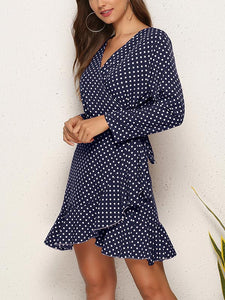 V Neck Polka  Dot Print Long Sleeve Casual Mini Dress