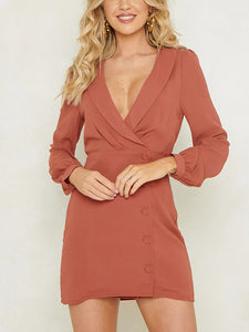 Deep V-Neck Long Sleeve  Button Shift Solid Blazer Dress