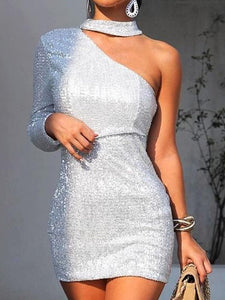 Sexy  Long Sleeve Shiny Asymmetric Strapless Evening Dress